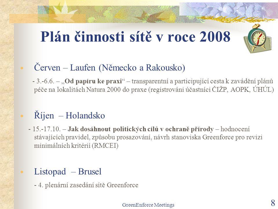 """GreenEnforce Meetings 8 Plán činnosti sítě v roce 2008  Červen – Laufen (Německo a Rakousko) - 3.-6.6. – """"Od papíru ke praxi"""" – transparentní a parti"""