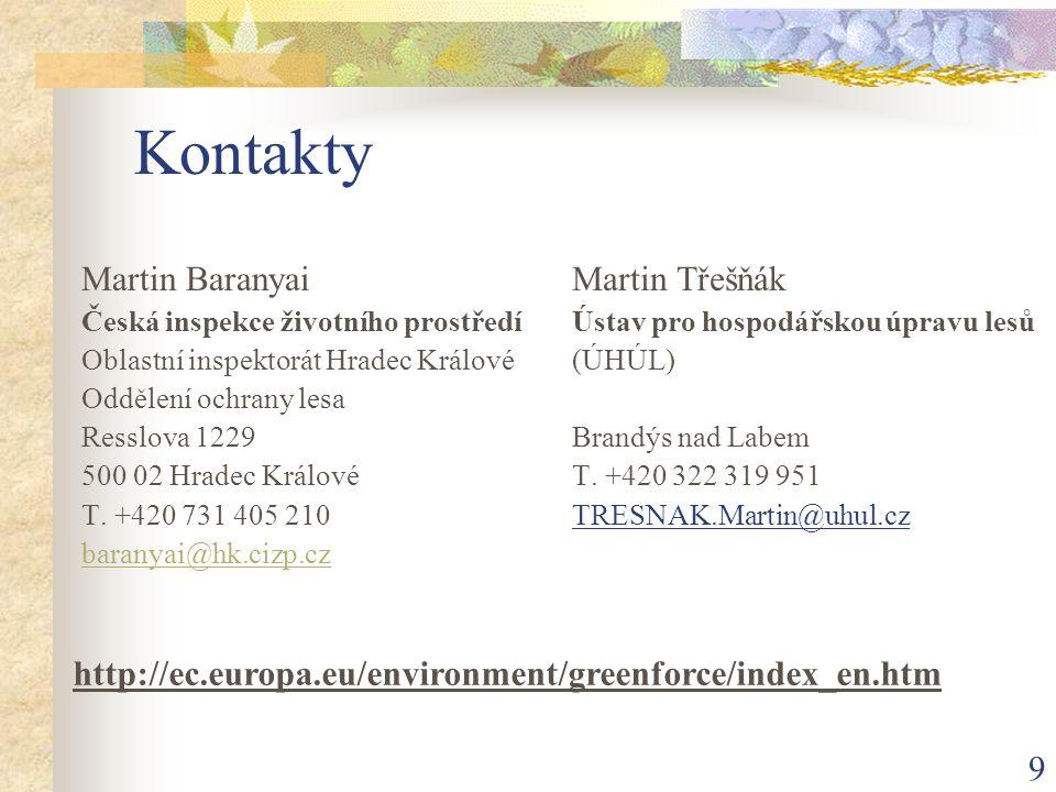 9 Kontakty Martin Baranyai Česká inspekce životního prostředí Oblastní inspektorát Hradec Králové Oddělení ochrany lesa Resslova 1229 500 02 Hradec Králové T.