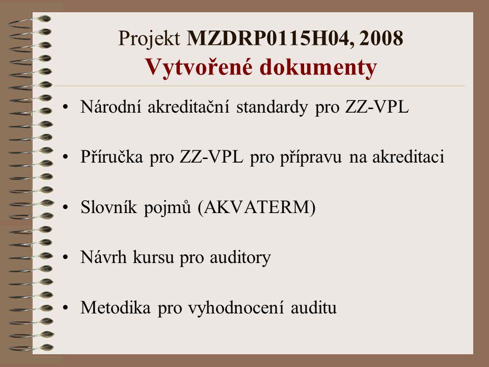 Projekt MZDRP0115H04, 2008 Vytvořené dokumenty Národní akreditační standardy pro ZZ-VPL Příručka pro ZZ-VPL pro přípravu na akreditaci Slovník pojmů (AKVATERM) Návrh kursu pro auditory Metodika pro vyhodnocení auditu