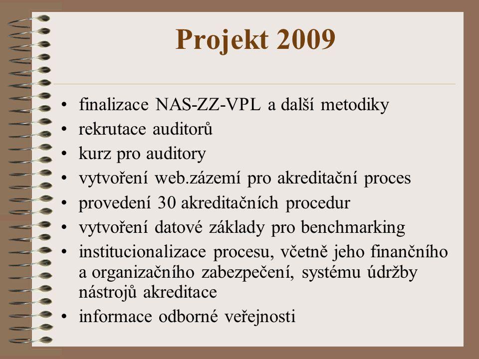 Projekt 2009 finalizace NAS-ZZ-VPL a další metodiky rekrutace auditorů kurz pro auditory vytvoření web.zázemí pro akreditační proces provedení 30 akreditačních procedur vytvoření datové základy pro benchmarking institucionalizace procesu, včetně jeho finančního a organizačního zabezpečení, systému údržby nástrojů akreditace informace odborné veřejnosti
