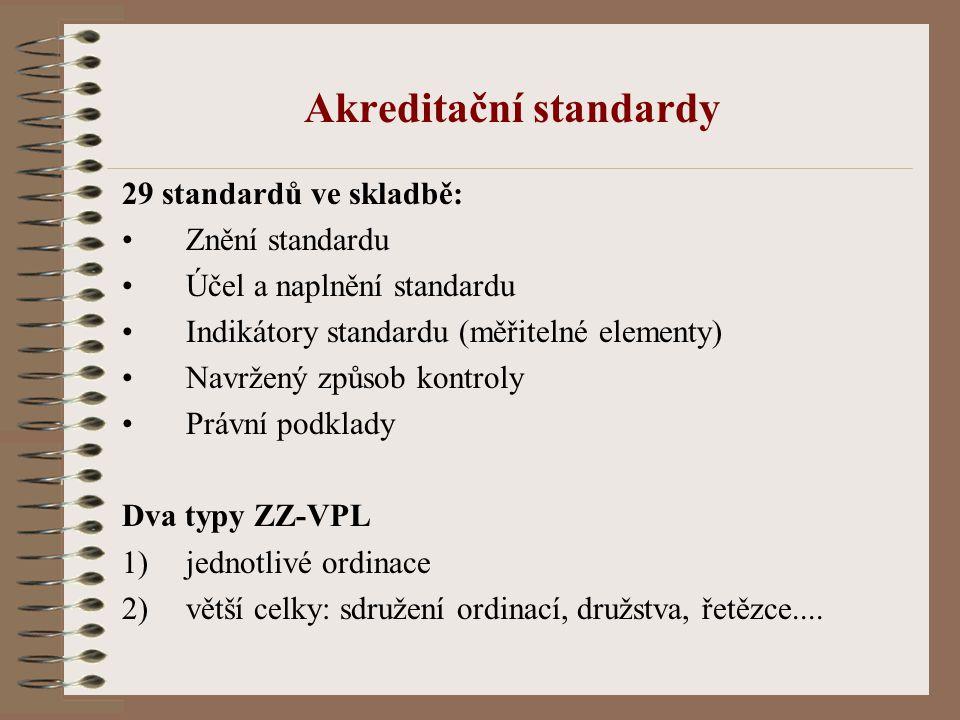 Akreditační standardy 29 standardů ve skladbě: Znění standardu Účel a naplnění standardu Indikátory standardu (měřitelné elementy) Navržený způsob kontroly Právní podklady Dva typy ZZ-VPL 1)jednotlivé ordinace 2)větší celky: sdružení ordinací, družstva, řetězce....