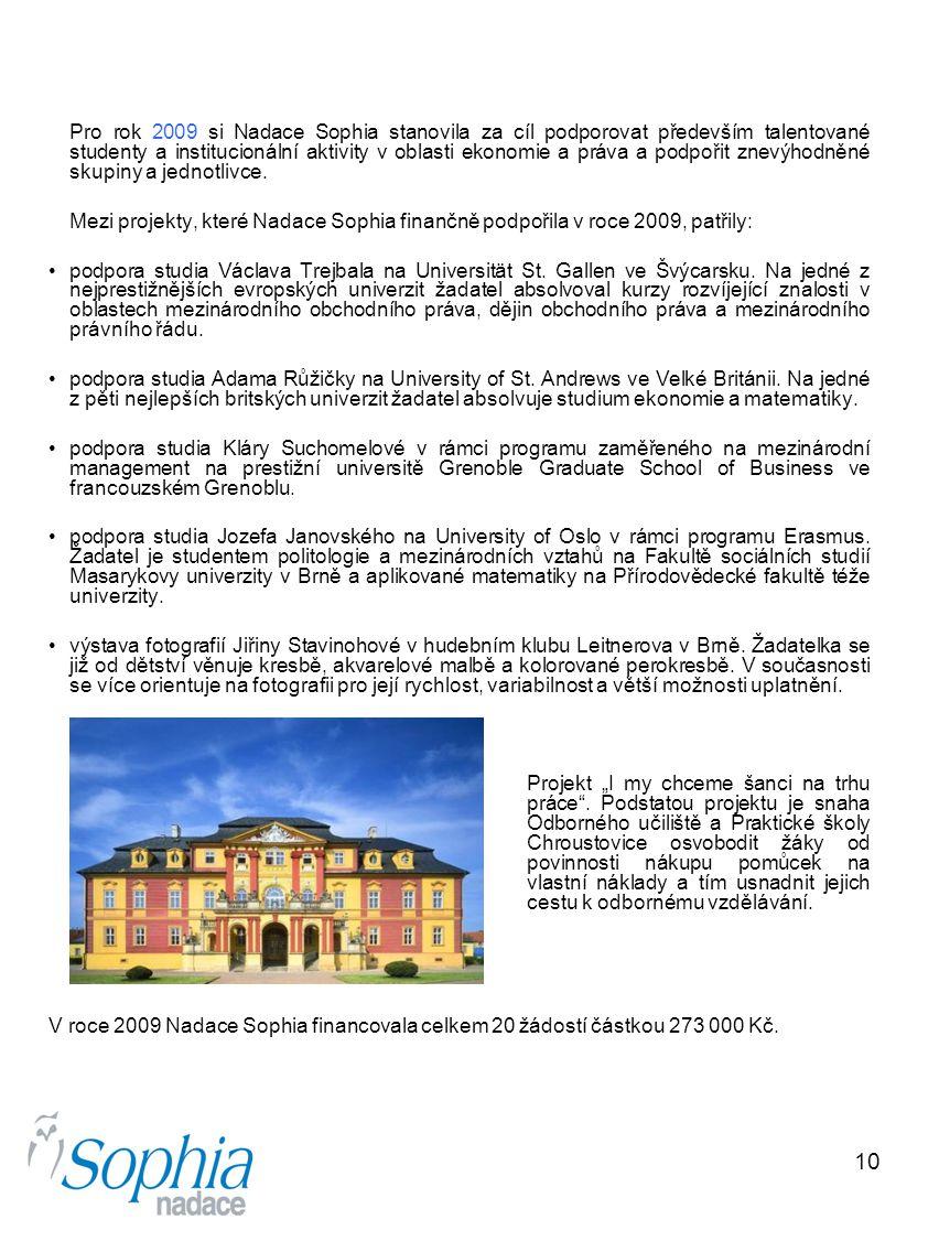 10 Pro rok 2009 si Nadace Sophia stanovila za cíl podporovat především talentované studenty a institucionální aktivity v oblasti ekonomie a práva a po