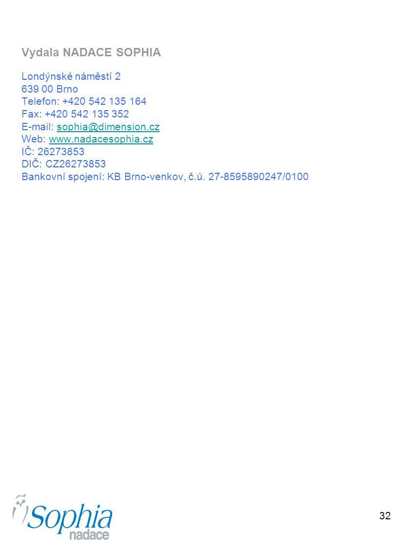 32 Vydala NADACE SOPHIA Londýnské náměstí 2 639 00 Brno Telefon: +420 542 135 164 Fax: +420 542 135 352 E-mail: sophia@dimension.czsophia@dimension.cz