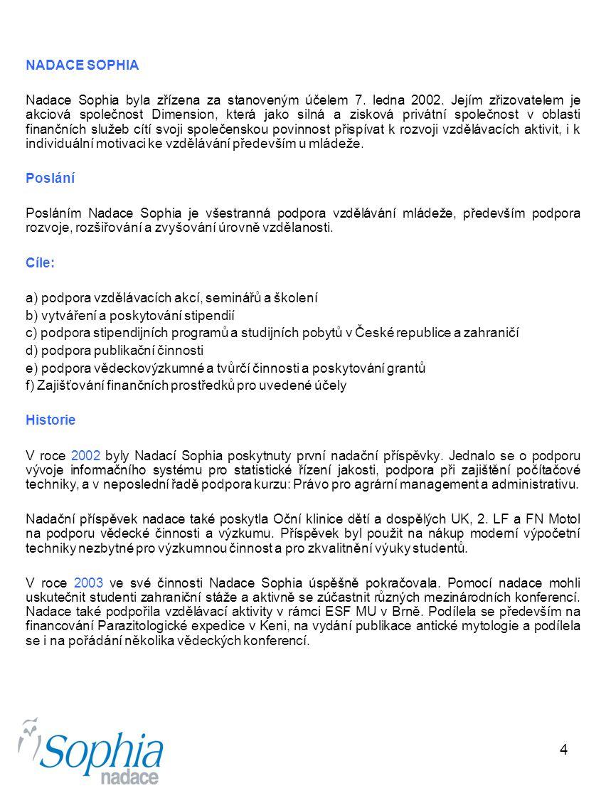4 NADACE SOPHIA Nadace Sophia byla zřízena za stanoveným účelem 7. ledna 2002. Jejím zřizovatelem je akciová společnost Dimension, která jako silná a
