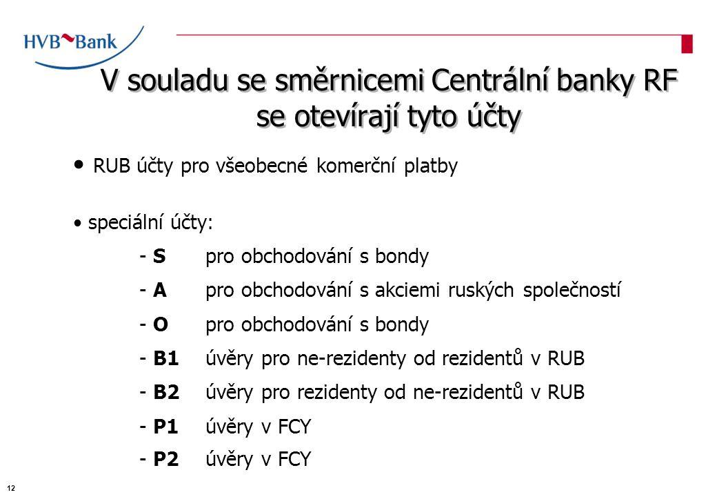 V souladu se směrnicemi Centrální banky RF se otevírají tyto účty RUB účty pro všeobecné komerční platby speciální účty: - Spro obchodování s bondy - Apro obchodování s akciemi ruských společností - Opro obchodování s bondy - B1úvěry pro ne-rezidenty od rezidentů v RUB - B2úvěry pro rezidenty od ne-rezidentů v RUB - P1úvěry v FCY - P2úvěry v FCY 12