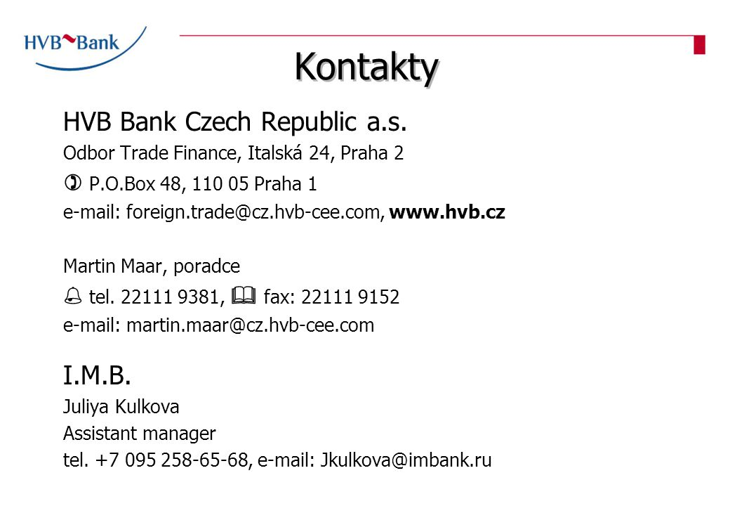 Kontakty HVB Bank Czech Republic a.s.