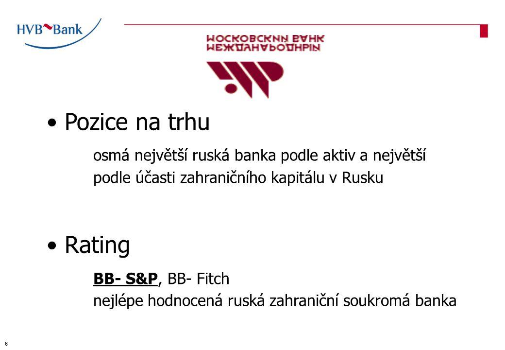 Pozice na trhu osmá největší ruská banka podle aktiv a největší podle účasti zahraničního kapitálu v Rusku Rating BB- S&P, BB- Fitch nejlépe hodnocená ruská zahraniční soukromá banka 6