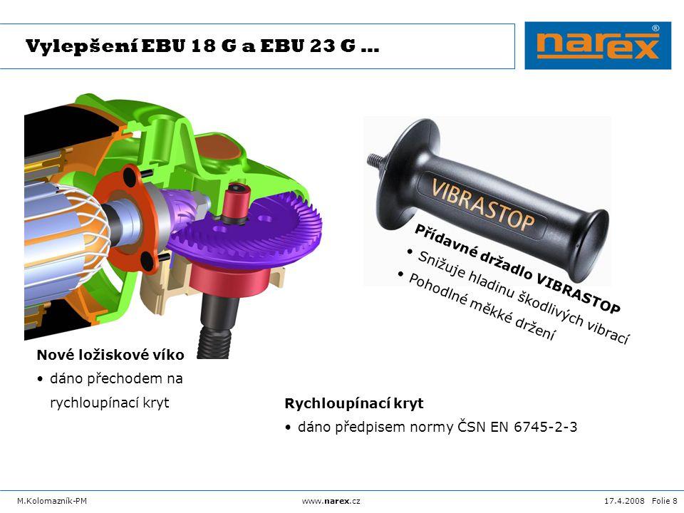 17.4.2008 Folie 9M.Kolomazník-PMwww.narex.cz EBU 18 G … EBU 18 F-AEBU 18 G Jmenovitý příkon 2 500 W Kotouč max.