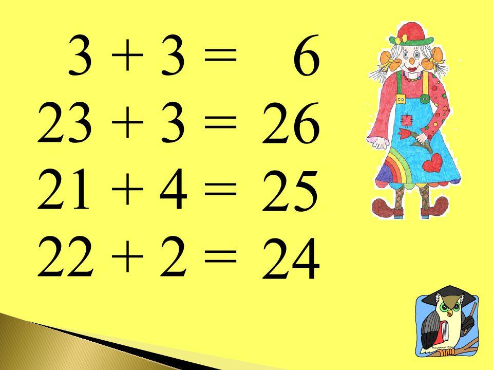 3 + 3 = 23 + 3 = 21 + 4 = 22 + 2 = 6 26 25 24