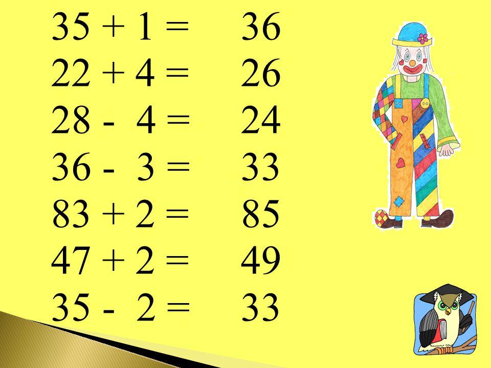 35 + 1 = 22 + 4 = 28 - 4 = 36 - 3 = 83 + 2 = 47 + 2 = 35 - 2 = 36 26 24 33 85 49 33