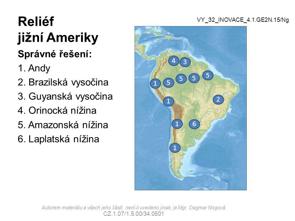 Reliéf jižní Ameriky Správné řešení: 1. Andy 2. Brazilská vysočina 3. Guyanská vysočina 4. Orinocká nížina 5. Amazonská nížina 6. Laplatská nížina 3 4