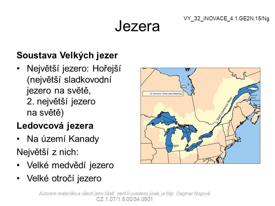 Jezera Soustava Velkých jezer Největší jezero: Hořejší (největší sladkovodní jezero na světě, 2. největší jezero na světě) Ledovcová jezera Na území K
