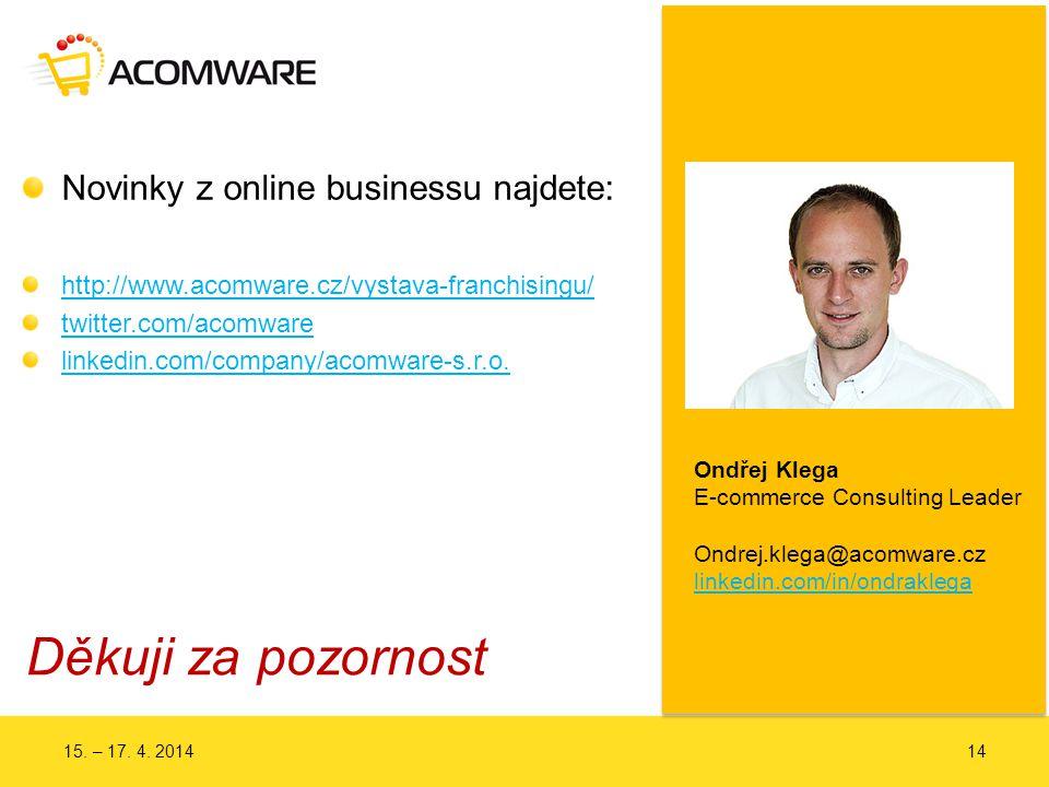 Děkuji za pozornost Novinky z online businessu najdete: http://www.acomware.cz/vystava-franchisingu/ http://www.acomware.cz/vystava-franchisingu/  twitter.com/acomware linkedin.com/company/acomware-s.r.o.