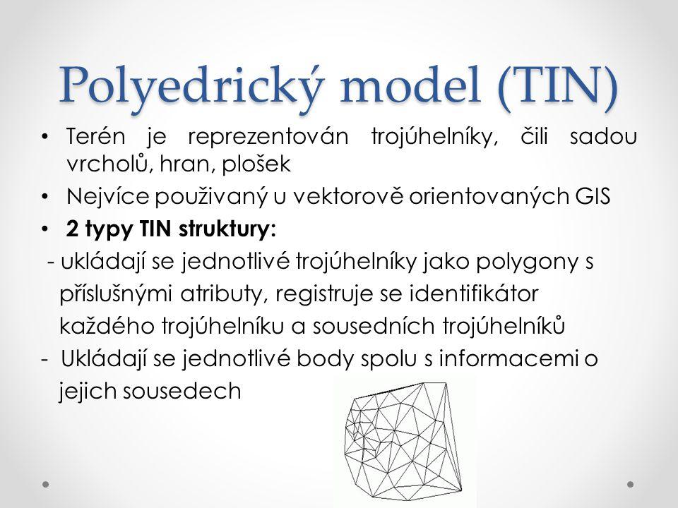 Plátový model Kombinace rastrového a polyedrického modelu, z trojúhelníkové sítě vzniká plátový model, který se skládá z obecných n-úhelníků Terén rozdělen na menší plošky, nemusí být rovinné, ale i zakřivené Plochy popsané polynomickými funkcemi navazují tak, aby byla zaručena spojitost derivací do daného řádu.