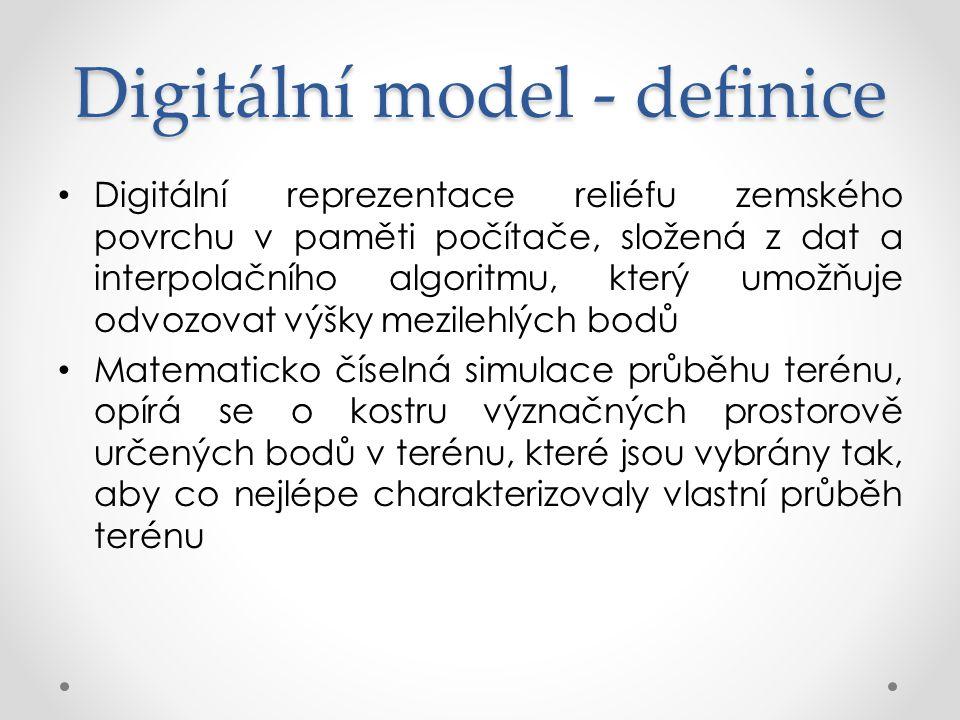 Pojmy DTM (digital terrain model) – zemský povrch ve smyslu holého povrchu bez vegetace DSM (digital surface model) – zemský povrch a vrchní plochy všech objektů na něm (střechy, koruny stromů a pod.) DEM (digital elevation model) – digitální model reliéfu pracující výhradně s nadmořskými výškami bodů