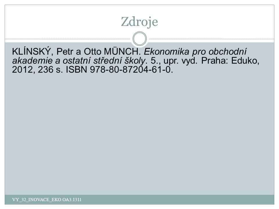 Zdroje KLÍNSKÝ, Petr a Otto MÜNCH. Ekonomika pro obchodní akademie a ostatní střední školy.