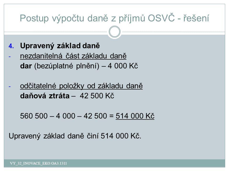 Postup výpočtu daně z příjmů OSVČ - řešení 4.