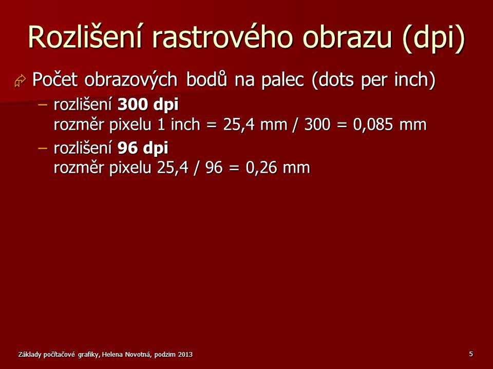 Základy počítačové grafiky, Helena Novotná, podzim 2013 16 Zadávání barev v programech