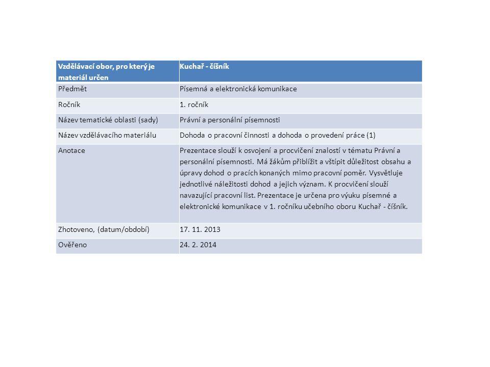 Dohoda o pracovní činnosti Dohoda o provedení práce Personální písemnosti 1