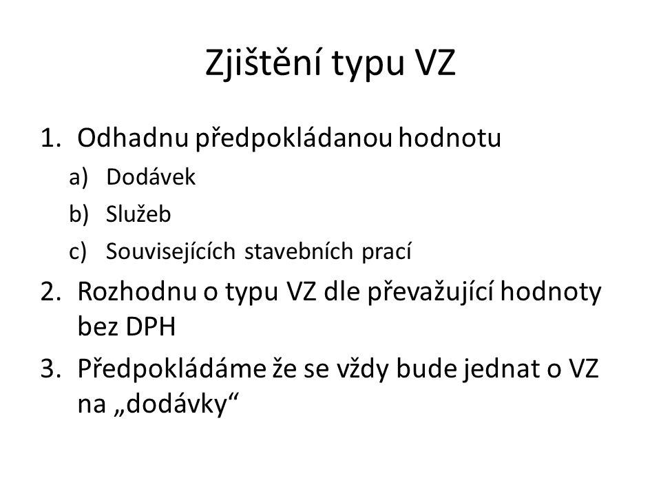 Zjištění typu VZ 1.Odhadnu předpokládanou hodnotu a)Dodávek b)Služeb c)Souvisejících stavebních prací 2.Rozhodnu o typu VZ dle převažující hodnoty bez