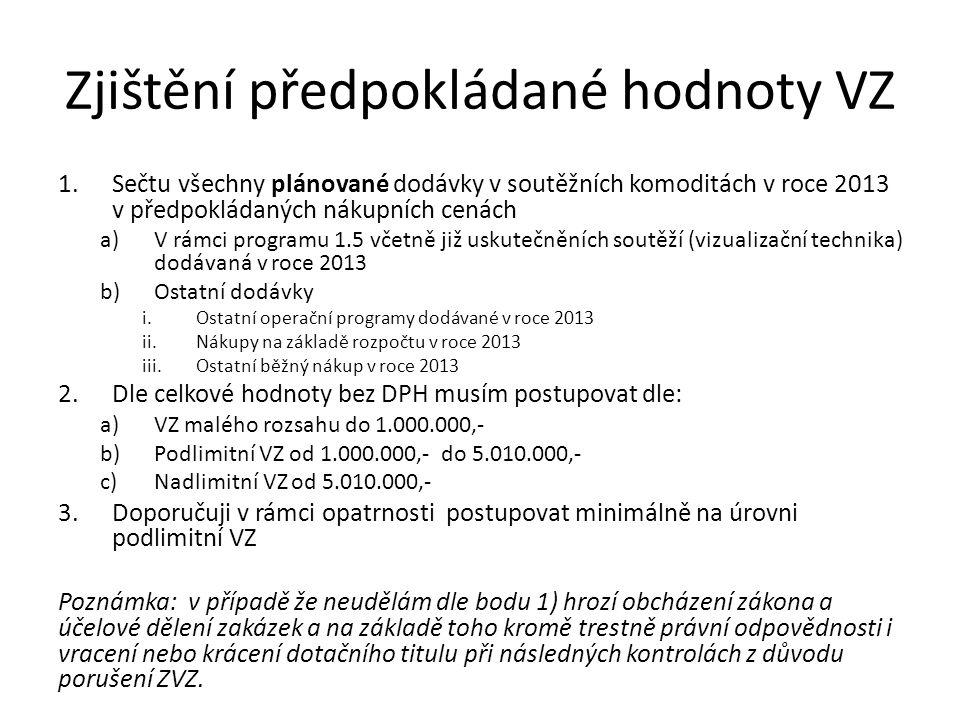 Zjištění předpokládané hodnoty VZ 1.Sečtu všechny plánované dodávky v soutěžních komoditách v roce 2013 v předpokládaných nákupních cenách a)V rámci programu 1.5 včetně již uskutečněních soutěží (vizualizační technika) dodávaná v roce 2013 b)Ostatní dodávky i.Ostatní operační programy dodávané v roce 2013 ii.Nákupy na základě rozpočtu v roce 2013 iii.Ostatní běžný nákup v roce 2013 2.Dle celkové hodnoty bez DPH musím postupovat dle: a)VZ malého rozsahu do 1.000.000,- b)Podlimitní VZ od 1.000.000,- do 5.010.000,- c)Nadlimitní VZ od 5.010.000,- 3.Doporučuji v rámci opatrnosti postupovat minimálně na úrovni podlimitní VZ Poznámka: v případě že neudělám dle bodu 1) hrozí obcházení zákona a účelové dělení zakázek a na základě toho kromě trestně právní odpovědnosti i vracení nebo krácení dotačního titulu při následných kontrolách z důvodu porušení ZVZ.