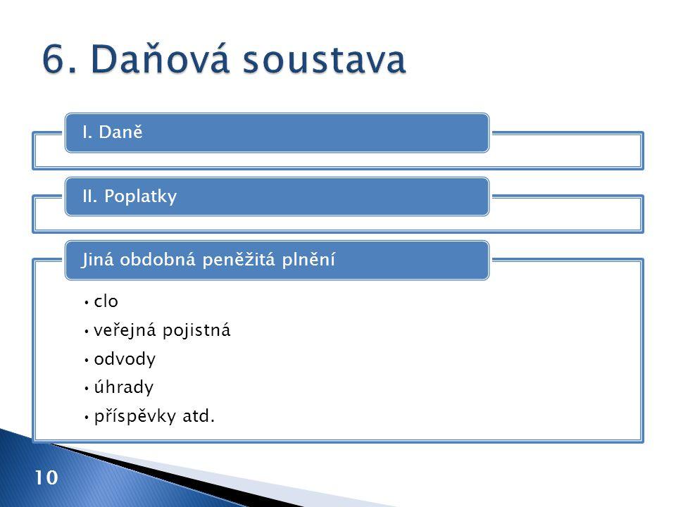 I. DaněII. Poplatky clo veřejná pojistná odvody úhrady příspěvky atd. Jiná obdobná peněžitá plnění 10