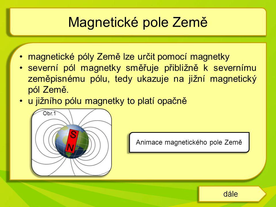 magnetické póly Země lze určit pomocí magnetky severní pól magnetky směřuje přibližně k severnímu zeměpisnému pólu, tedy ukazuje na jižní magnetický pól Země.