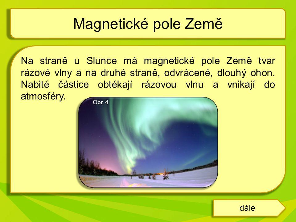 Na straně u Slunce má magnetické pole Země tvar rázové vlny a na druhé straně, odvrácené, dlouhý ohon.