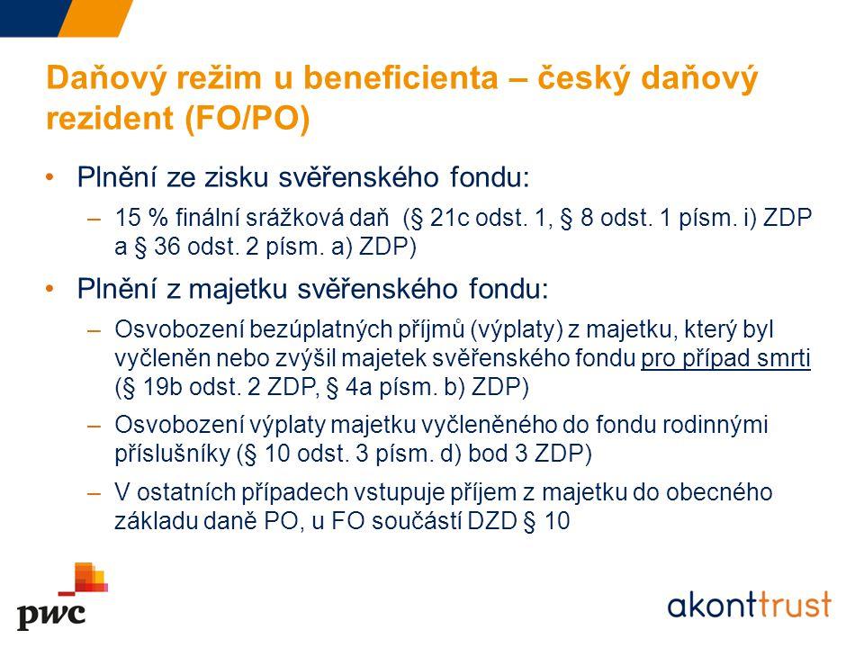 Daňový režim u beneficienta – český daňový rezident (FO/PO) Plnění ze zisku svěřenského fondu: –15 % finální srážková daň (§ 21c odst. 1, § 8 odst. 1