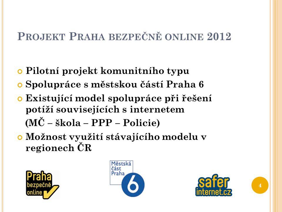 P ROJEKT P RAHA BEZPEČNĚ ONLINE 2012 Pilotní projekt komunitního typu Spolupráce s městskou částí Praha 6 Existující model spolupráce při řešení potíží souvisejících s internetem (MČ – škola – PPP – Policie) Možnost využití stávajícího modelu v regionech ČR 4