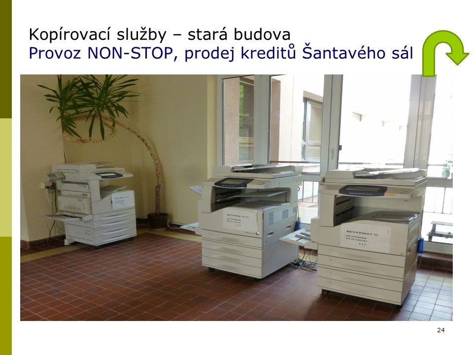 Kopírovací služby – stará budova Provoz NON-STOP, prodej kreditů Šantavého sál 24