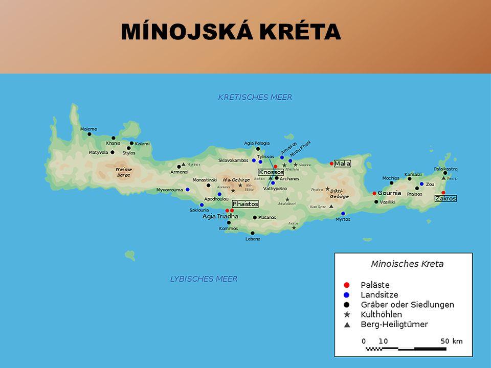 KULT BÝKA Posvátné zvíře Významné místo v mínojských mýtech Mínojské mýty = počátky řecké mytologie Mythos = jeskyně Mýty o Minotaurovi a Europě Zobrazování v sochařství i nástěnném malířství