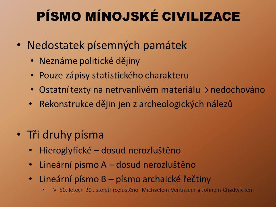 PÍSMO MÍNOJSKÉ CIVILIZACE Nedostatek písemných památek Neznáme politické dějiny Pouze zápisy statistického charakteru Ostatní texty na netrvanlivém ma
