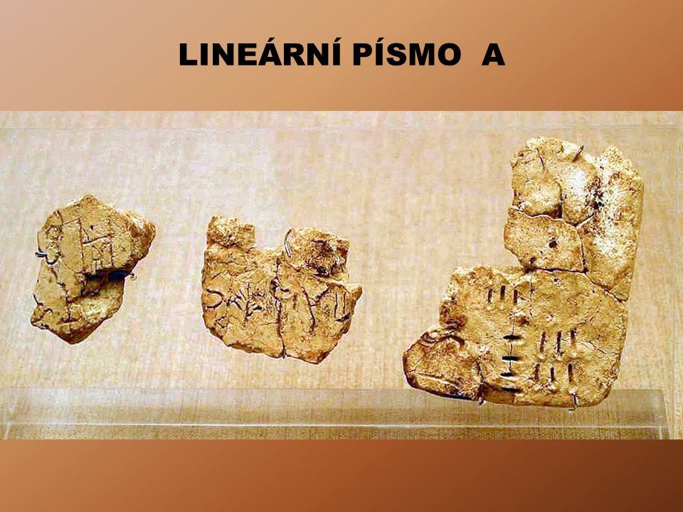 LINEÁRNÍ PÍSMO B Hliněná tabulka z Knossu - 15. - 14. stol. př. n. l.
