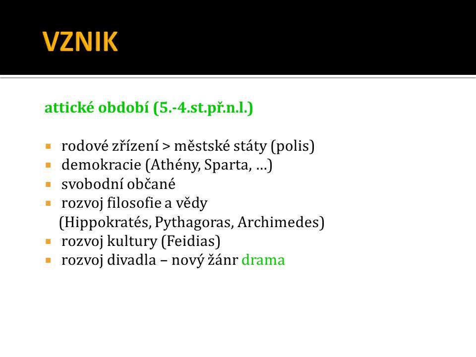 attické období (5.-4.st.př.n.l.)  rodové zřízení > městské státy (polis)  demokracie (Athény, Sparta, …)  svobodní občané  rozvoj filosofie a vědy