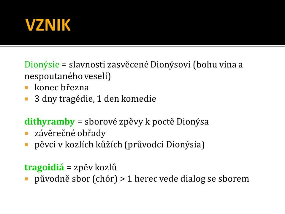 Dionýsie = slavnosti zasvěcené Dionýsovi (bohu vína a nespoutaného veselí)  konec března  3 dny tragédie, 1 den komedie dithyramby = sborové zpěvy k
