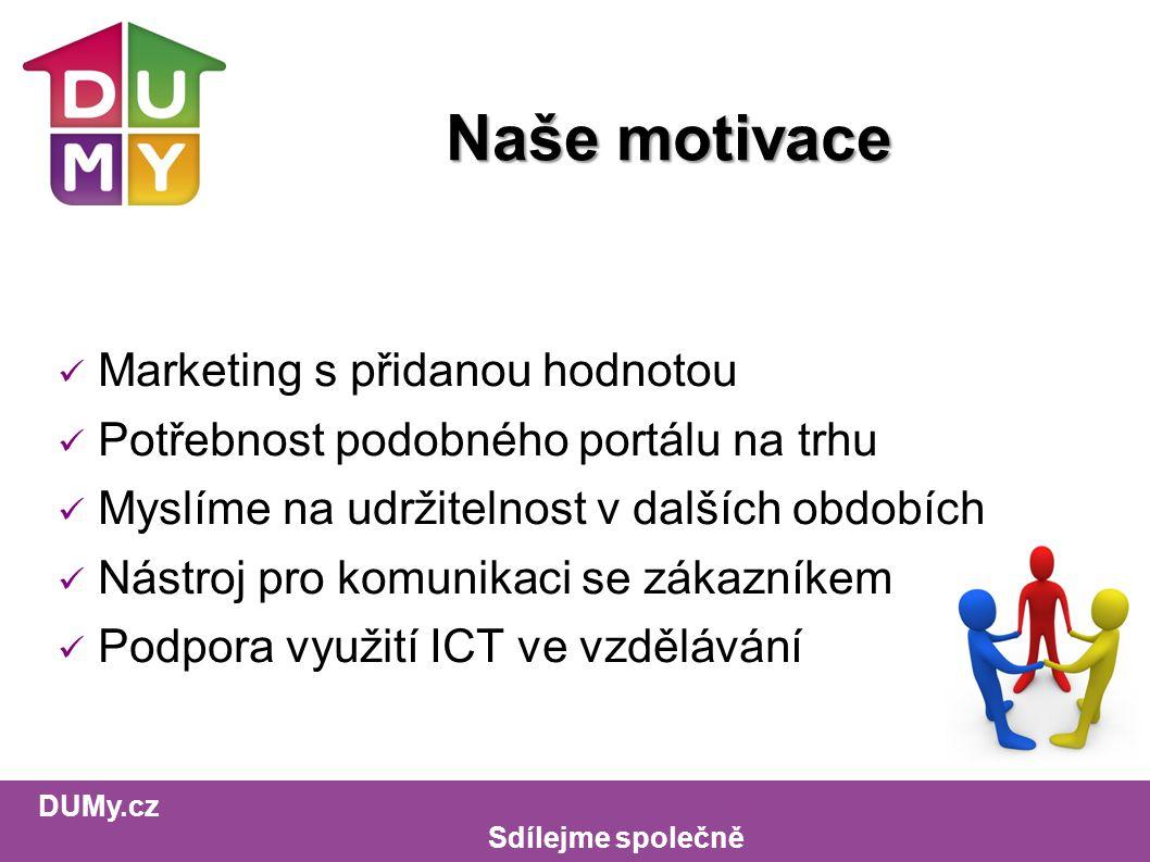 DUMy.cz Sdílejme společně Naše motivace Marketing s přidanou hodnotou Potřebnost podobného portálu na trhu Myslíme na udržitelnost v dalších obdobích Nástroj pro komunikaci se zákazníkem Podpora využití ICT ve vzdělávání