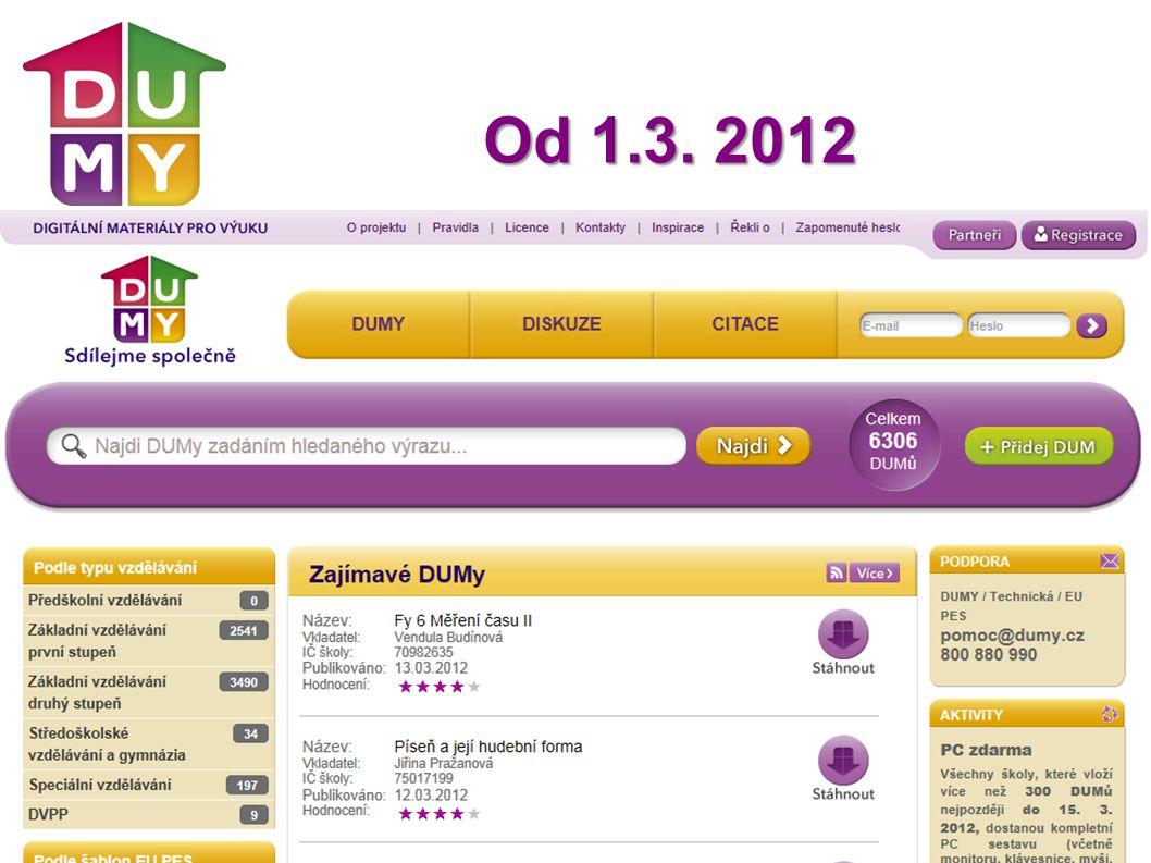 DUMy.cz Sdílejme společně Od 1.3. 2012