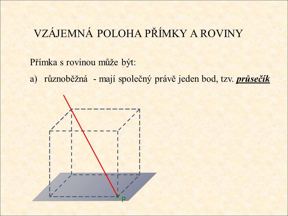 VZÁJEMNÁ POLOHA PŘÍMKY A ROVINY Přímka s rovinou může být: a)různoběžná - mají společný právě jeden bod, tzv.