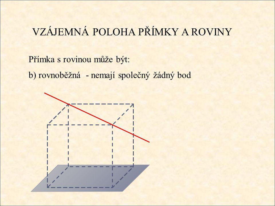 VZÁJEMNÁ POLOHA PŘÍMKY A ROVINY Přímka s rovinou může být: b) rovnoběžná - nemají společný žádný bod