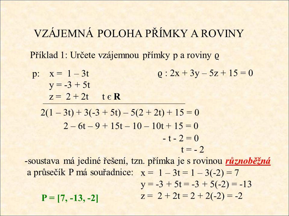 Příklad 1: Určete vzájemnou přímky p a roviny ϱ -soustava má jediné řešení, tzn.