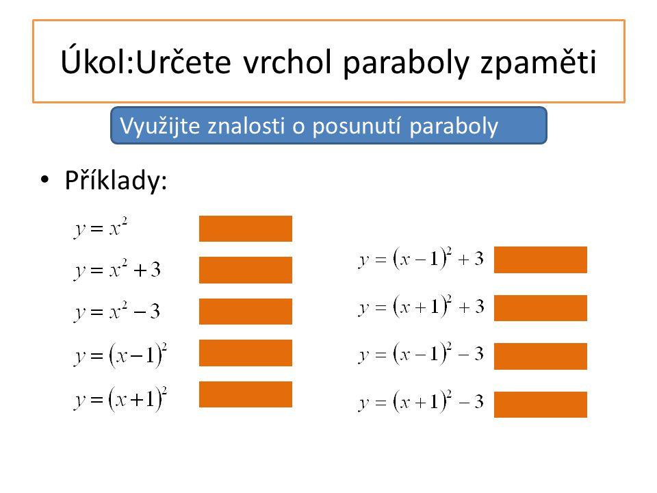 Úkol:Načrtněte graf funkce y=2x 2 -8x+15 vrchol paraboly V=[2; 7] a>0, parabola má minimum osa souměrnosti je rovnoběžná s osou y a prochází bodem [2;0] dopočítáme f(1), f(0) souměrné hodnoty f(3), f(4) Další vlastnosti paraboly