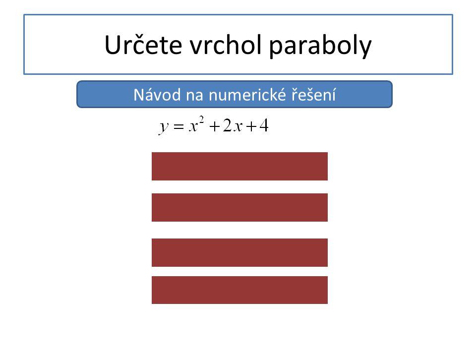 Určete vrchol paraboly Návod na numerické řešení