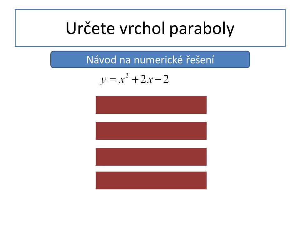 Určete vrchol paraboly Návod na numerické řešení Příliš pracné 4.