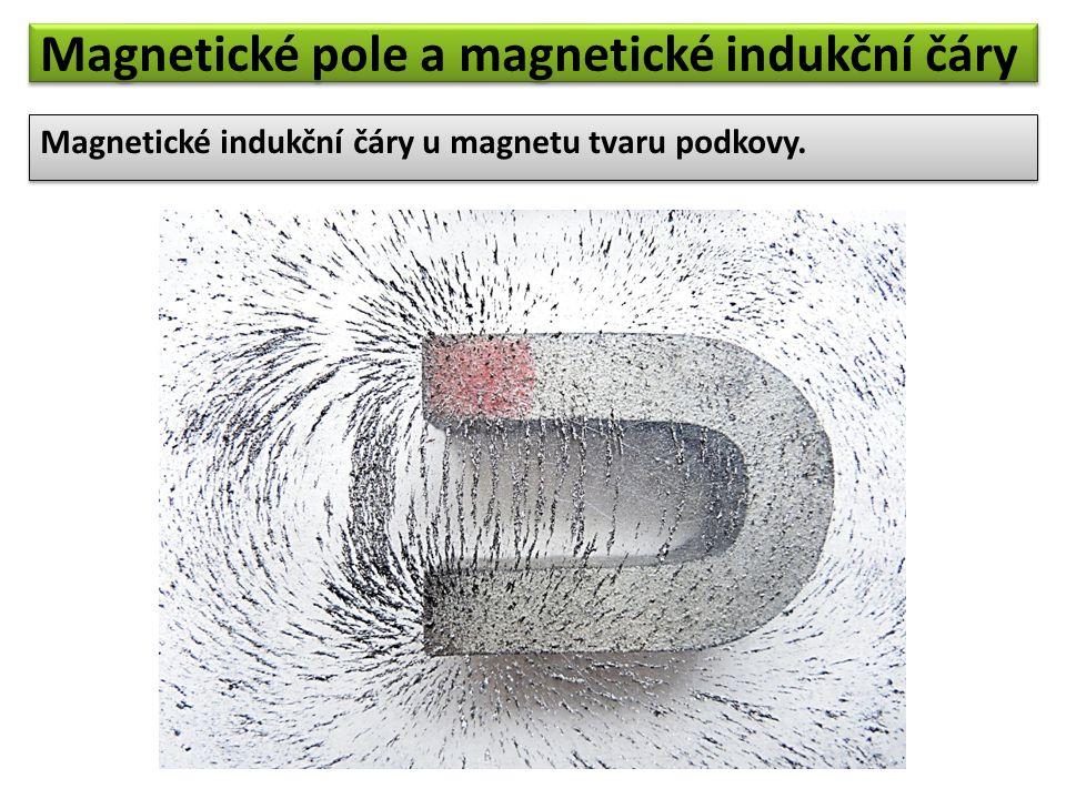 Magnetické indukční čáry u magnetu tvaru podkovy. Magnetické pole a magnetické indukční čáry