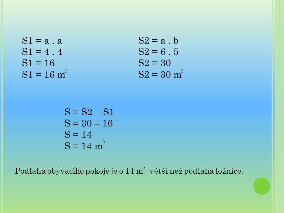 S1 = a. a S1 = 4. 4 S1 = 16 S1 = 16 m S2 = a. b S2 = 6. 5 S2 = 30 S2 = 30 m S = S2 – S1 S = 30 – 16 S = 14 S = 14 m 2 2 2 Podlaha obývacího pokoje je
