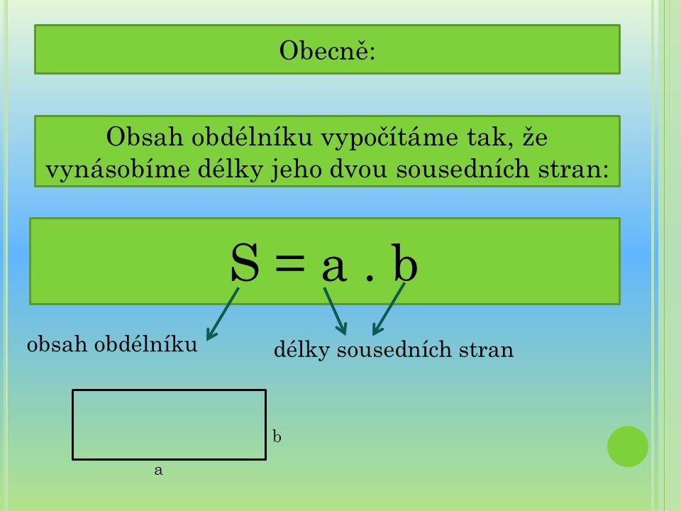 Obecně: S = a. b obsah obdélníku délky sousedních stran b a Obsah obdélníku vypočítáme tak, že vynásobíme délky jeho dvou sousedních stran: