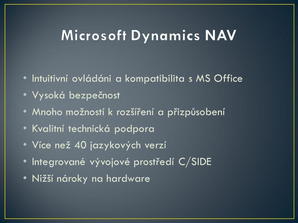 Intuitivní ovládáni a kompatibilita s MS Office Vysoká bezpečnost Mnoho možností k rozšíření a přizpůsobení Kvalitní technická podpora Více než 40 jazykových verzí Integrované vývojové prostředí C/SIDE Nižší nároky na hardware