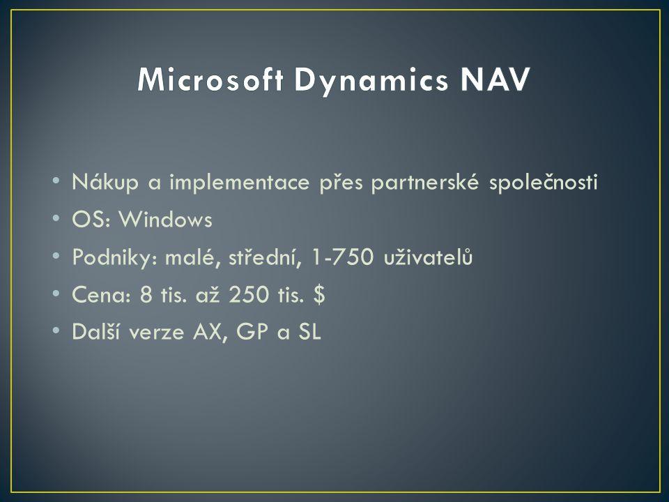 Nákup a implementace přes partnerské společnosti OS: Windows Podniky: malé, střední, 1-750 uživatelů Cena: 8 tis. až 250 tis. $ Další verze AX, GP a S
