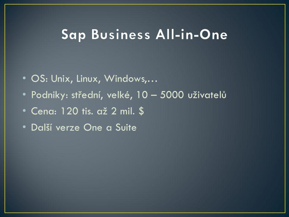 OS: Unix, Linux, Windows,… Podniky: střední, velké, 10 – 5000 uživatelů Cena: 120 tis. až 2 mil. $ Další verze One a Suite